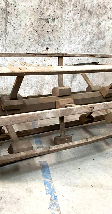 Large Sculptural Rustic Harvest Wooden Thresher / Combine Tool