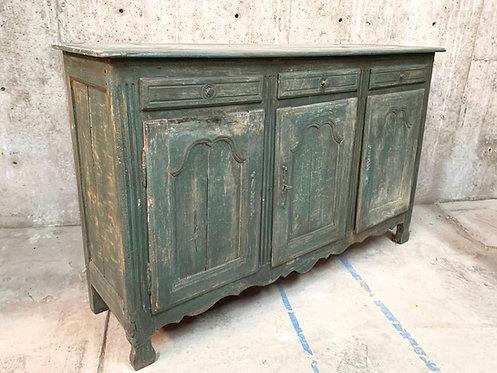 Vintage Dark Green Distressed Painted Long Buffet