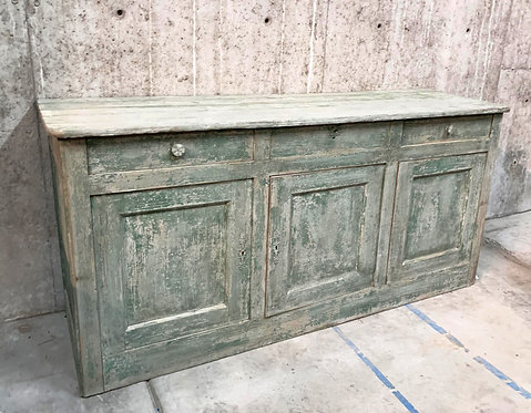 Vintage Light Green Distressed Painted Long Buffet