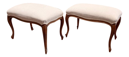 Antique Louis XV Style Walnut Footstools Upholstered in Linen Fabric, a Pair
