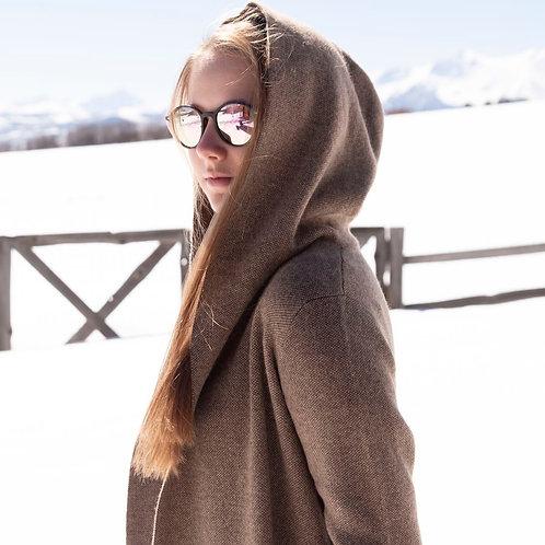 Jacquard Knit Yak & Camel Down Hoody