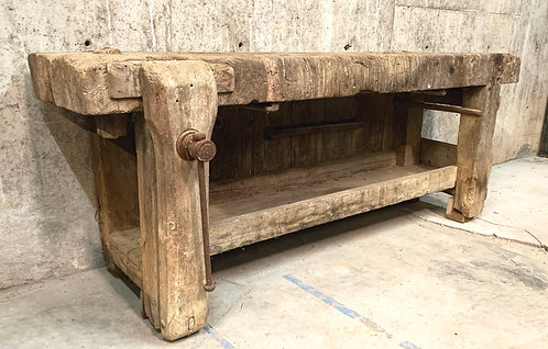 """French Etabli or Carpenter's Workbench With 5"""" Thick Plank Top"""