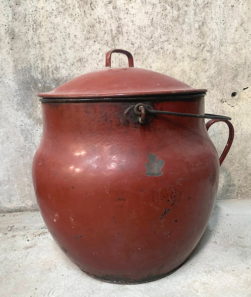 Large Red Enamel Pot with Lid