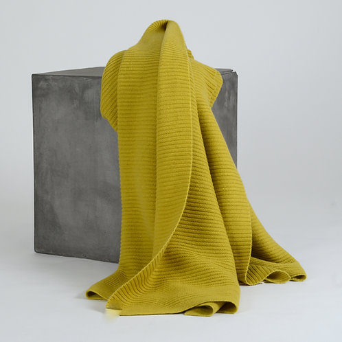 Solid Ribbed Knit Cashmere Throw