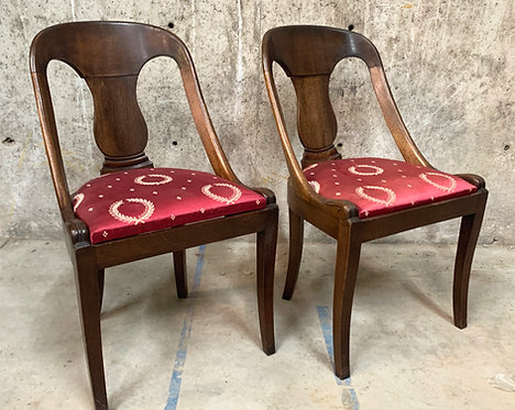 Empire Style Chairs with Red Silk Upholstered Seat, A Pair