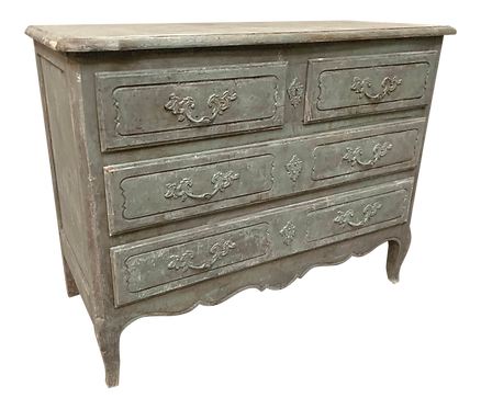 Gray Green Painted and Distressed Commode