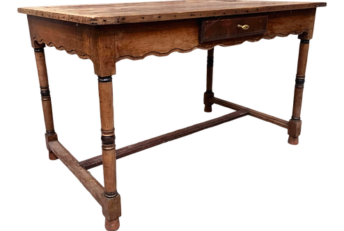 Rustic Desk With Scalloped Apron