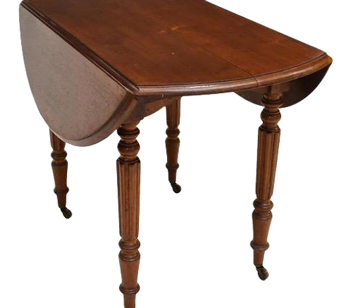 French Louis Philippe Mahogany Drop Leaf Table With Turned Legs on Brass Castors