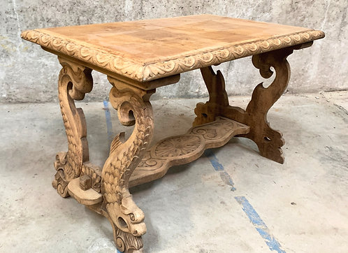 Carved Dry Oak Coffee Table with Dolphin Motif Trestle Legs