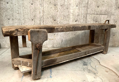 """Long French Etabli or Carpenter's Workbench With 3.5"""" Thick Plank Top"""