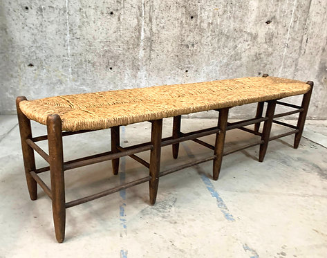 Rush Seat Bench with Two Rows of Wooden Spindles