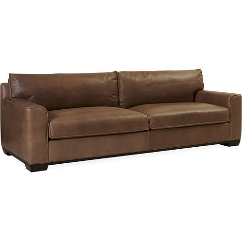 Adam Leather Two Cushion Sofa in Jackson Latte