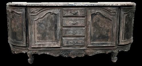 Long Louis XV Marble Top Distress Painted Dark Charcoal Sideboard