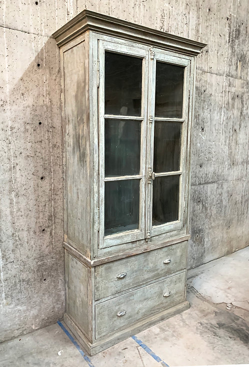 Vintage Painted Bookcase with Original French Window Doors