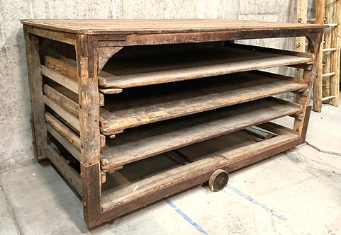 Large Antique Boulangerie / Bakers Rack with Iron Frame and Wheels