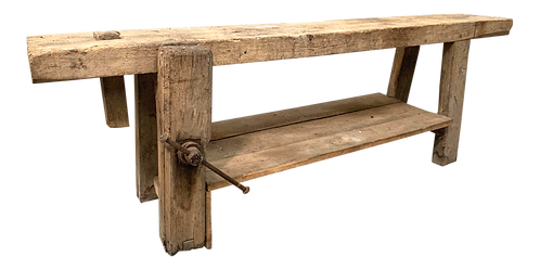 "French Etabli or Carpenter's Workbench With 3.75"" Thick Plank Top"