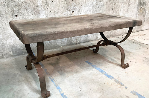 Vintage Coffee Table with Wrought Iron Base