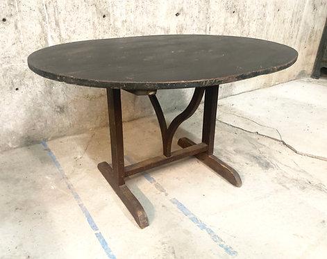 "Antique Black Top ""Vendage"" Vineyard Tilt-Top Table"