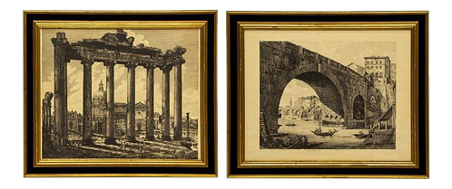 Folio Etchings From 101 Views of Roman Antiquities by Luigi Rossini - A Pair