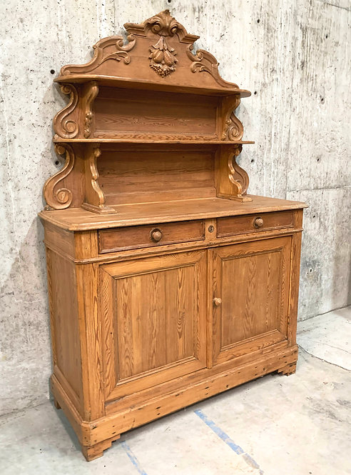 Pine Buffet with Center Display Shelves Carved Fruit Crown