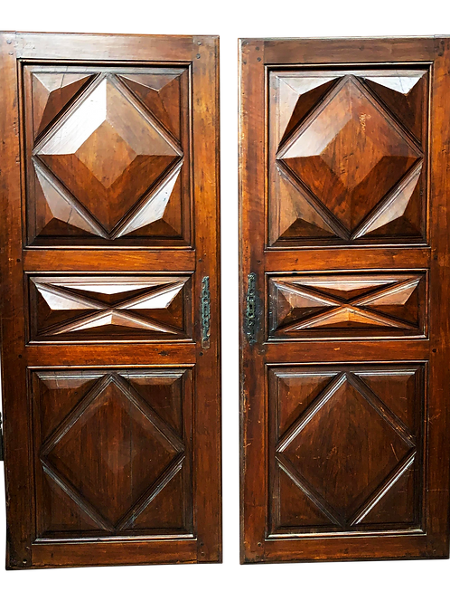 Late 18th C Antique French Oak Armoire Doors, a Pair