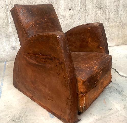 Vintage Art Deco Leather Club Armchair