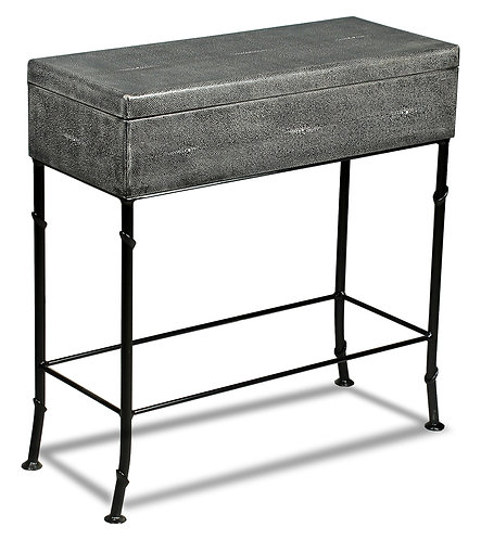 Grey Leather Box On Stand