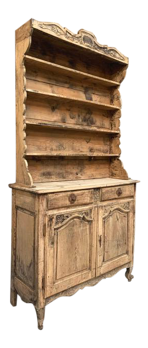 Tall Lightly Distressed Elm Vaisselier Cupboard