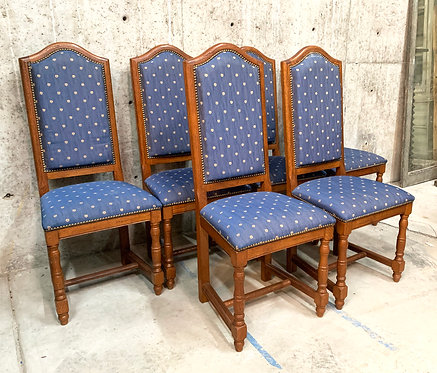 Oak Dining Chairs in Blue Fabric, Set of Six