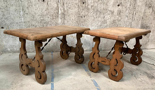 Spanish Style Light Oak Side Tables, A Pair