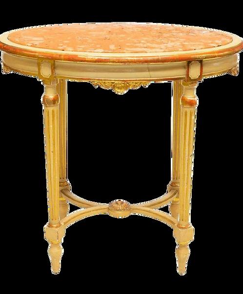 Late 19th Century Antique Louis XVI Style Parcel Gilt Marble Table