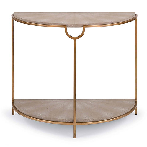 Vogue Shagreen Demilune Console (Ivory Grey and Brass)