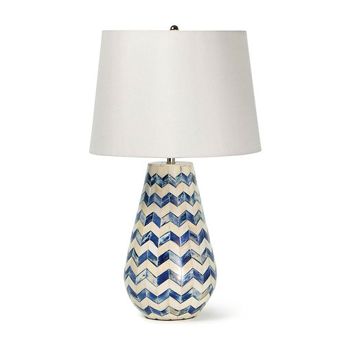 Cassia Chevron Table Lamp (Blue)