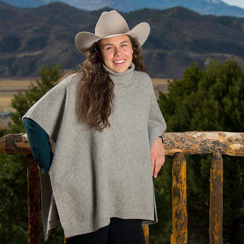 Rice Knit Yak Down Cowl-Neck Poncho