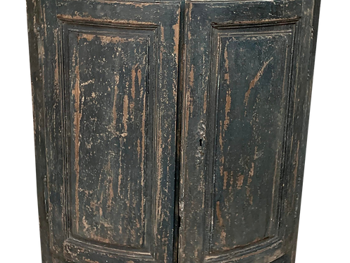 Gray Green Painted and Distressed Corner Cabinet