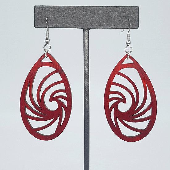 Red Wave Wood Earrings