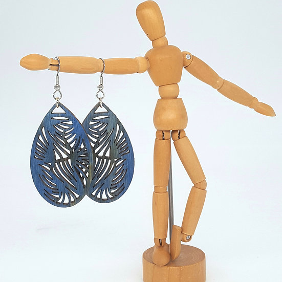 Abstract Blue Wood Earrings