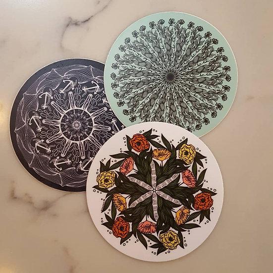 "3"" Mandala Vinyl Stickers"