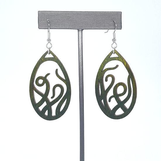 Green Tentacles Wood Earrings