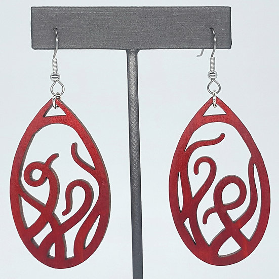Red Tentacles Wood Earrings