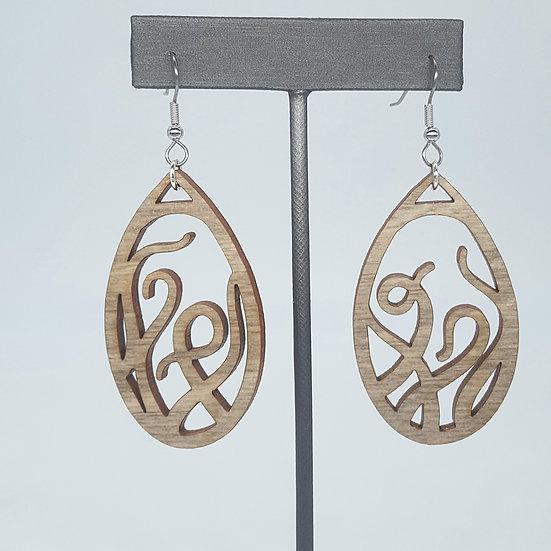 Grey Tentacles Wood Earrings