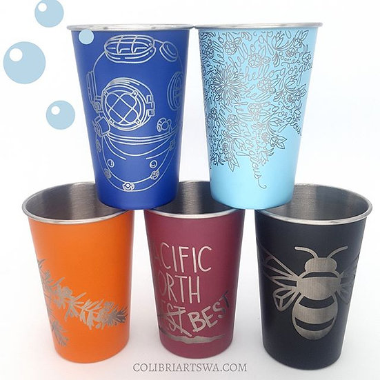 Enameled Stainless Pints (Select Image/Color)