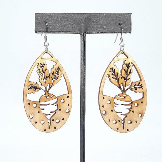 Natural Wood Beet Earrings
