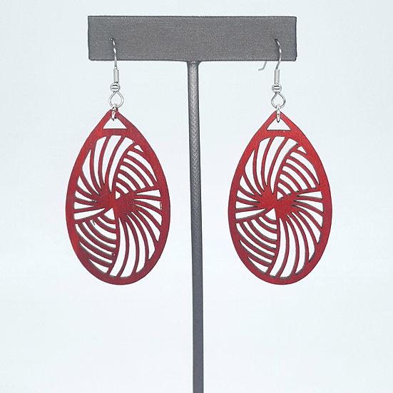 Red Vortex Wood Earrings