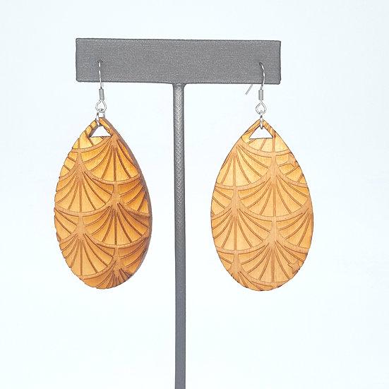 Natural Art Deco Wood Earrings