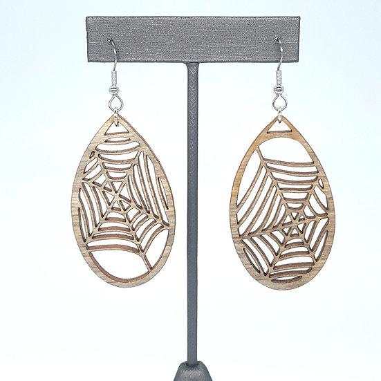 Grey Spiderweb Wood Earrings