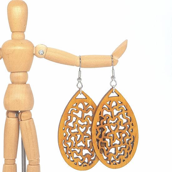 Yellow Floral Wood Earrings