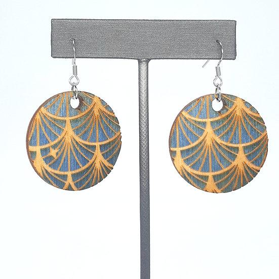 Blue Art Deco Wood Earrings