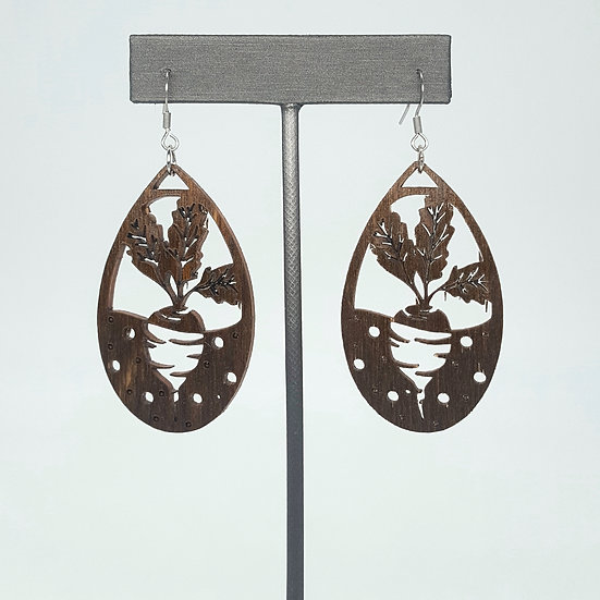 Brown Beets Wood Earrings