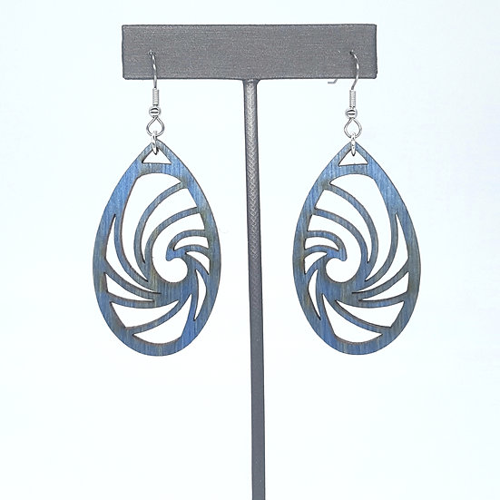 Blue Wave Wood Earrings